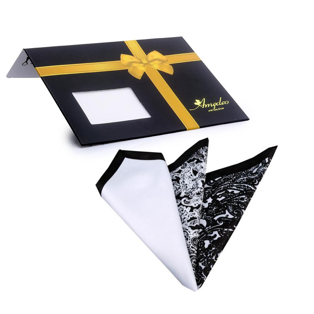 Men's 3 Different Folds Pocket Square Hanky Handkerchief - Amedeo Exclusive