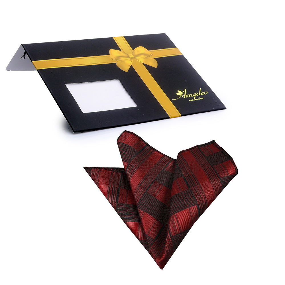 Amedeo Exclusive Jacquard Woven Silk Red Check Printed Handkerchief