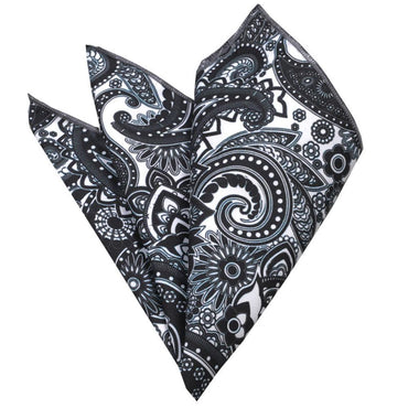 Men's Black & White Paisley Pocket Square Hanky Handkerchief - Amedeo Exclusive