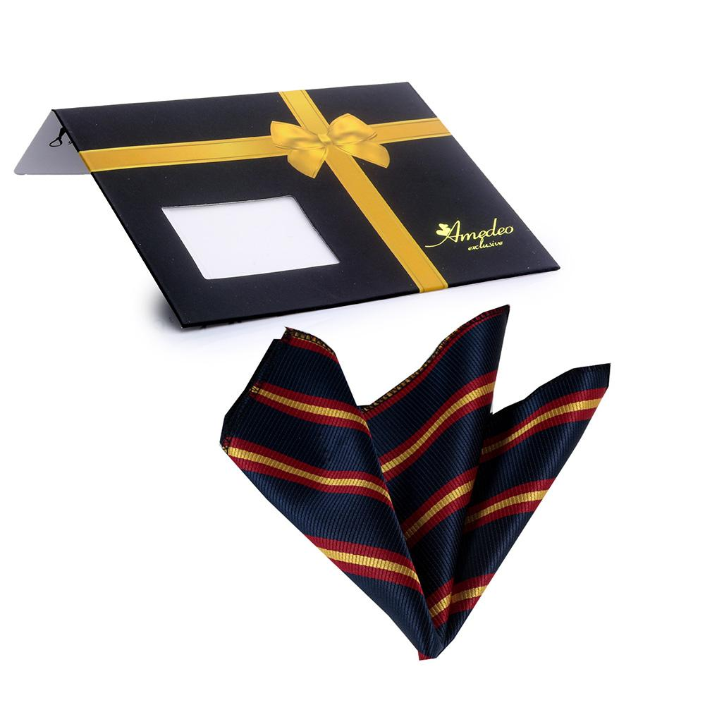 Jacquard Silk Blue Red Yellow Lines Handkerchief