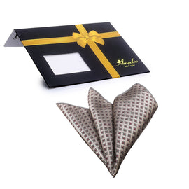 Amedeo Exclusive Jacquard Silk Champagne Check Printed Handkerchief