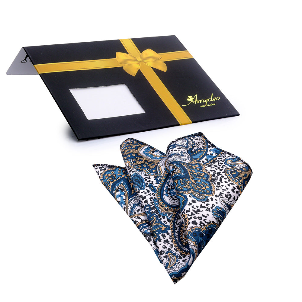 White Blue Tan Paisley Mens Pocket Square - Premium Silk Handkerchiefs for Suits - Amedeo Exclusive