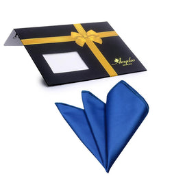 Amedeo Exclusive Jacquard Woven Silk Solid Blue Colour Handkerchief