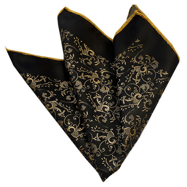 Pocket Black & Gold Hanky Handkerchief - Amedeo Exclusive