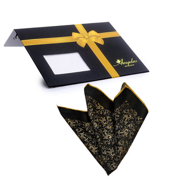 Pocket Black & Gold Hanky Handkerchief-Amedeo Exclusive