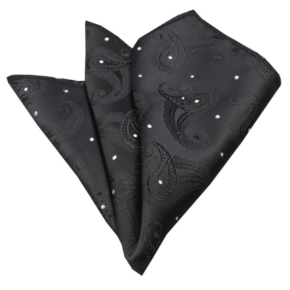 Men's Solid Black Paisley with White Dots Pocket Square Hanky Handkerchief - Amedeo Exclusive