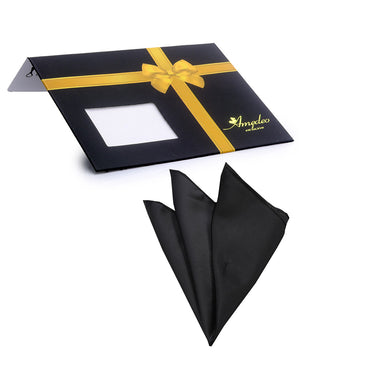 Pocket Solid Black Hanky Handkerchief-Amedeo Exclusive