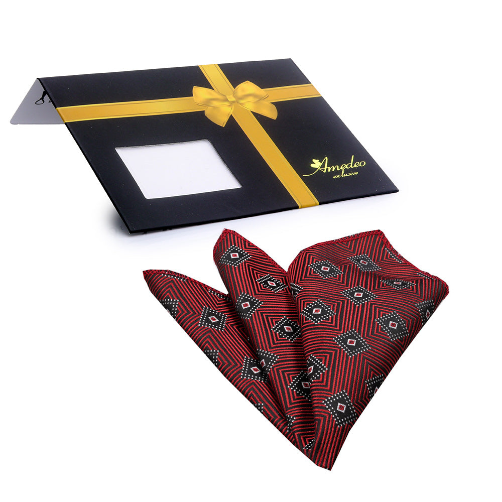Men's Red with Black Diamonds Pocket Square Hanky Handkerchief - Amedeo Exclusive