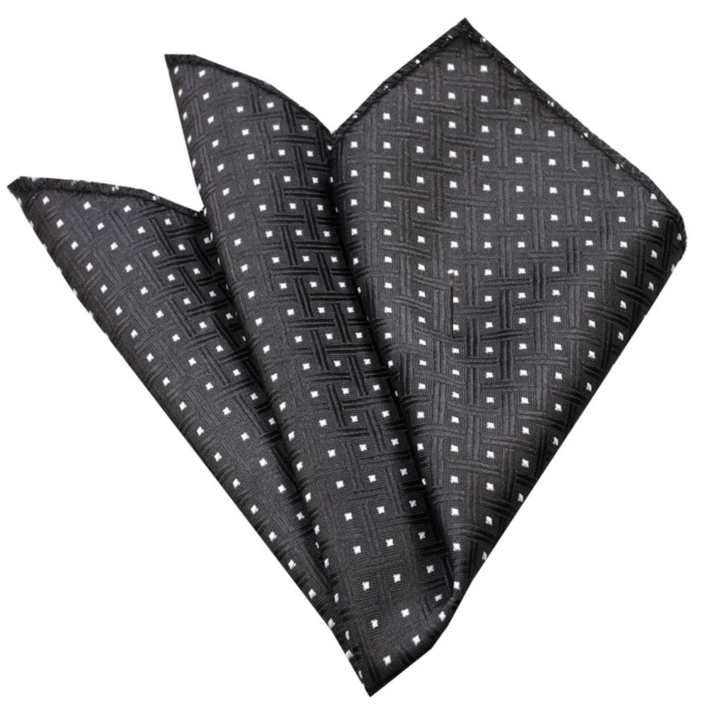 Men's Black Check with White Dots Pocket Square Hanky Handkerchief - Amedeo Exclusive