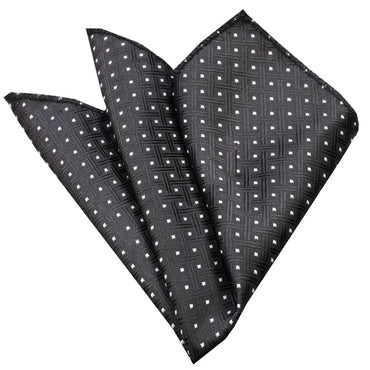 Pocket Black Check with White Dots Hanky Handkerchief-Amedeo Exclusive