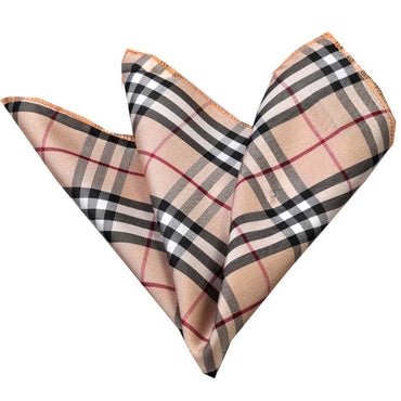 Men's Tan Plaid Pocket Square Hanky Handkerchief - Amedeo Exclusive