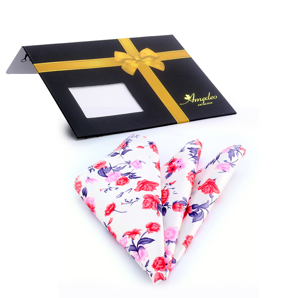 Men's Rose white floral Pocket Square Hanky Handkerchief - Amedeo Exclusive