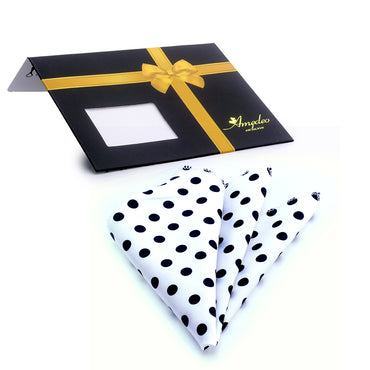 Men's White Black Polka Dots Pocket Square Hanky Handkerchief - Amedeo Exclusive
