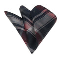 Men's Red Grey Plaid Pocket Square Hanky Handkerchief - Amedeo Exclusive