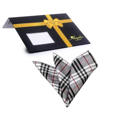 Men's Black Grey White Plaid Pocket Square Hanky Handkerchief - Amedeo Exclusive