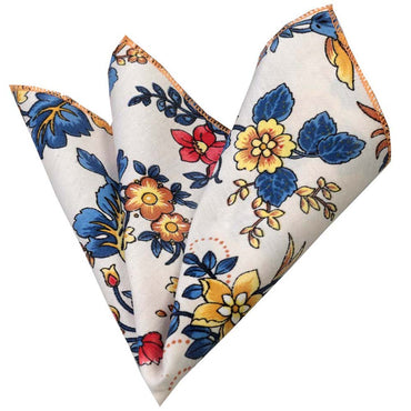 Men's Multi color white floral Pocket Square Hanky Handkerchief - Amedeo Exclusive