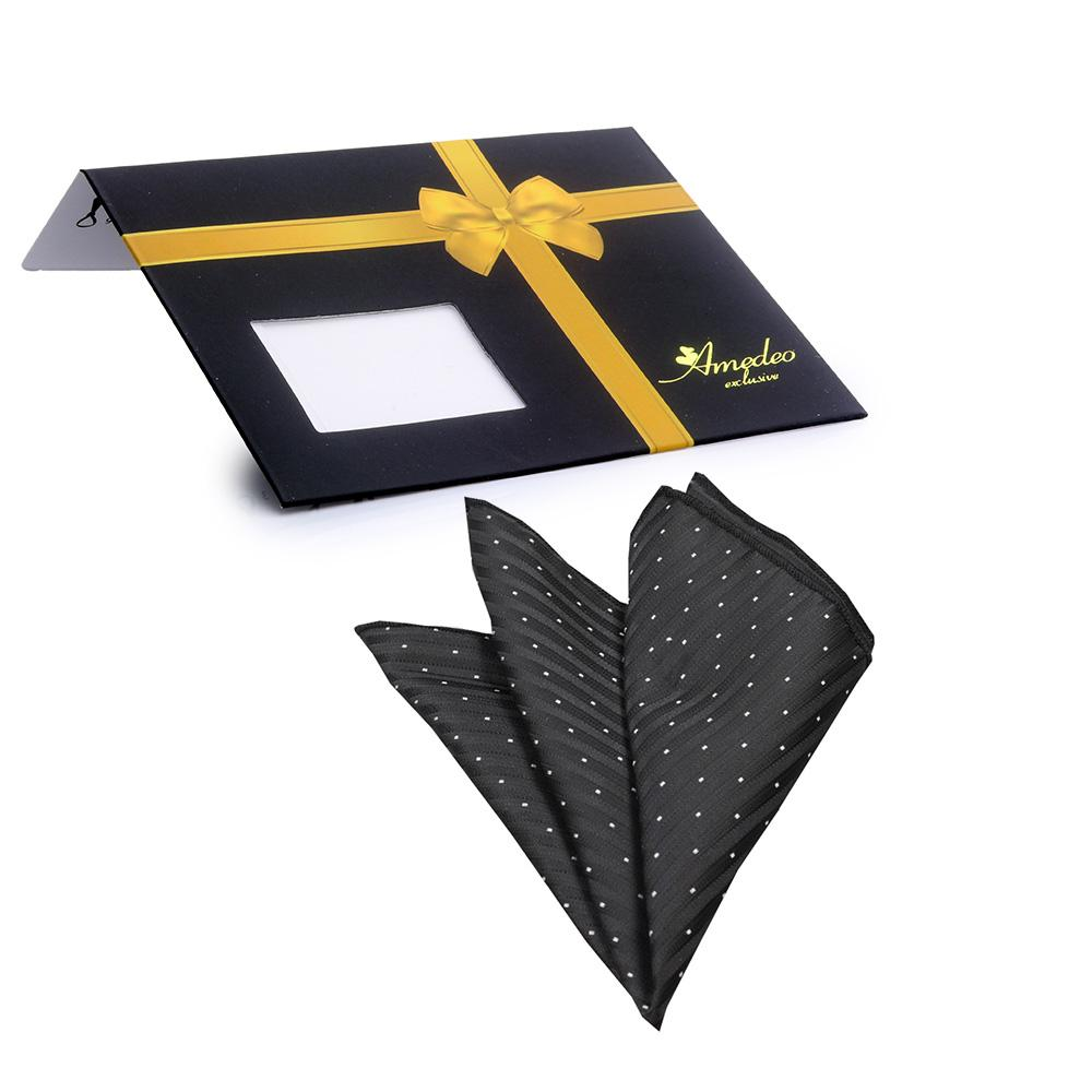 Men's Black White Snowflakes Silk Handkerchief