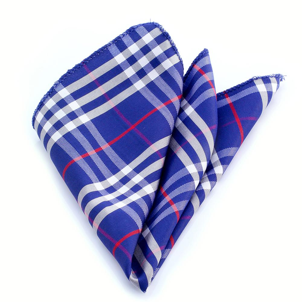 Men's Blue Red White Pocket Square Hanky Handkerchief - Amedeo Exclusive