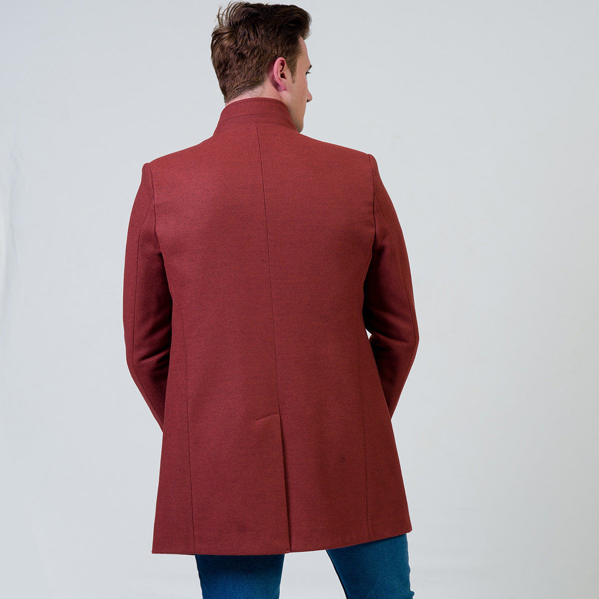 Men's European Maroon Wool Coat Jacket Tailor fit Fine Luxury Quality Work and Casual
