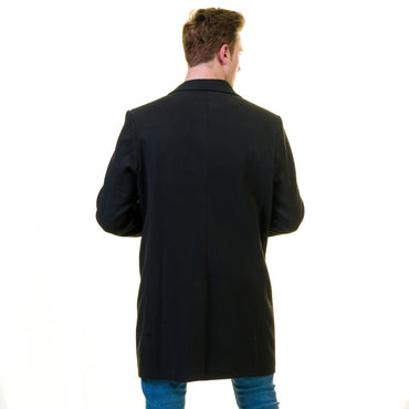 Men's European Black Wool Coat Hooded Jacket Tailor fit Fine Luxury Quality Work and Casual