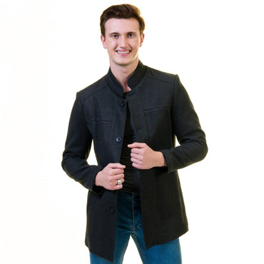 Men's European Black Wool Coat Jacket Tailor fit Fine Luxury Quality Work and Casual
