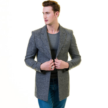 Men's European Grey Wool Coat Jacket Tailor fit Fine Luxury Quality Work and Casual