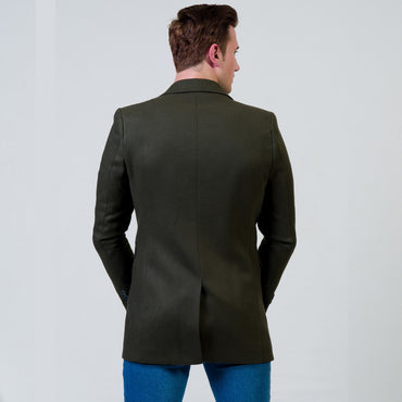 Men's European Green Wool Coat Jacket Tailor fit Fine Luxury Quality Work and Casual