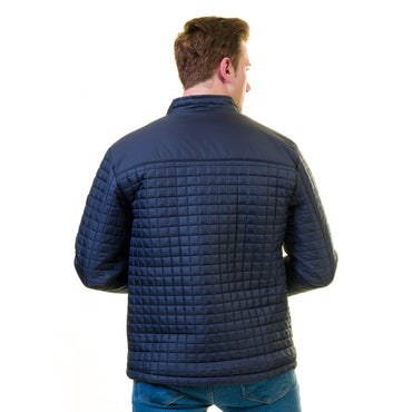 Men's European Blue Fall Padded Jacket Tailor fit Fine Luxury Quality Work and Casual