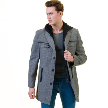 Men's European Grey Wool Coat Hooded Jacket Tailor fit Fine Luxury Quality Work and Casual