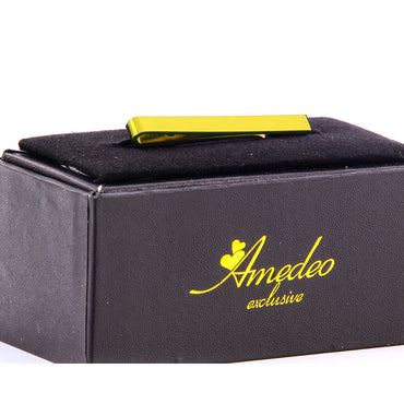 Men's Gold Shiny Metallic Stainless Steel Tie Clips - Amedeo Exclusive