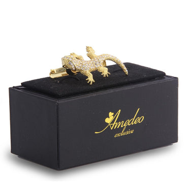 Men's Gold Aligator With Stones Metallic Stainless Steel Tie Clips