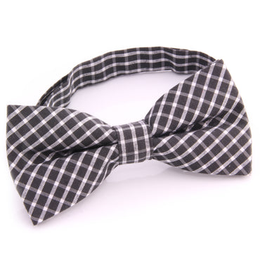 Men's Black White Silk Pre-Tied Bow Tie