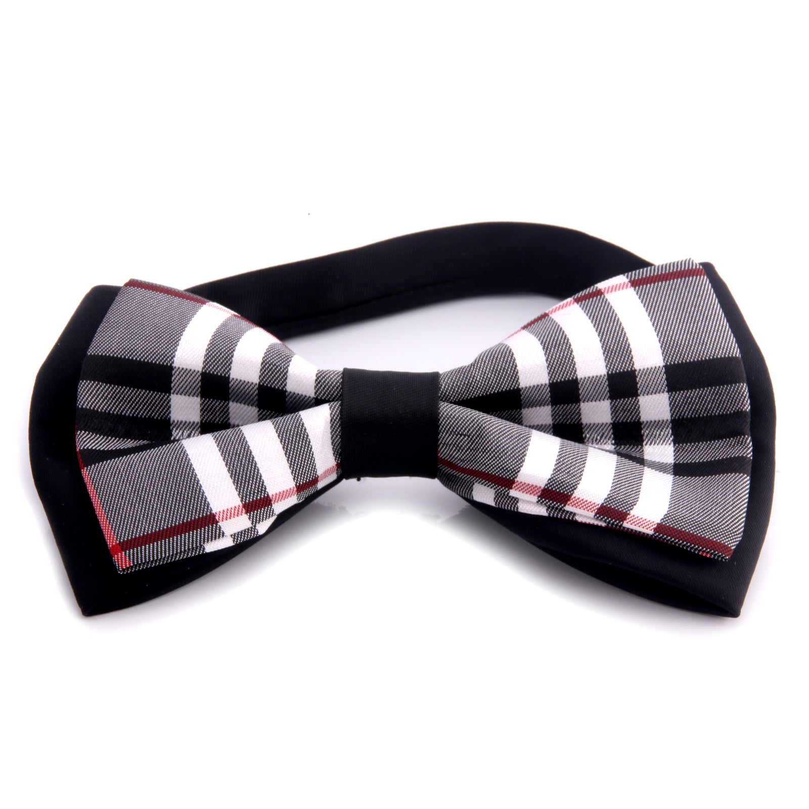 Men's Black Plaid Silk Pre-Tied Bow Tie