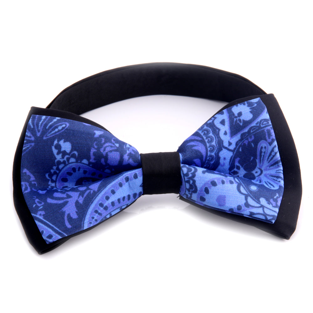 Amedeo Exclusive Men's Jacquard Woven Silk Black Blue Pre-Tied Bow Tie