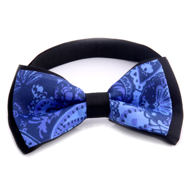 Men's Black Blue Paisley Silk Pre-Tied Bow Tie