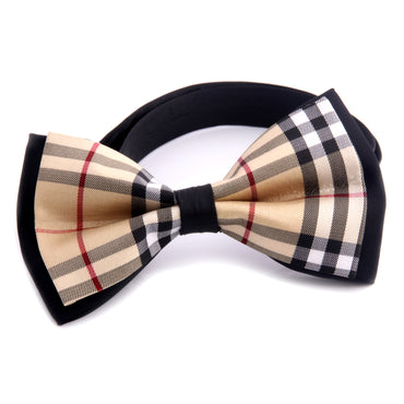Men's Black Nova Plaid Silk Pre-Tied Bow Tie - Amedeo Exclusive