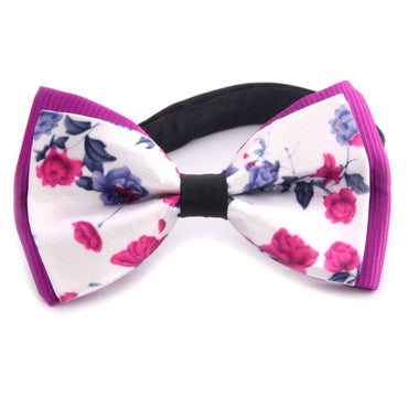 Amedeo Exclusive Men's Jacquard Silk Purple Roses Pre-Tied Bow Tie