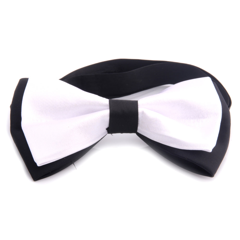 Amedeo Exclusive Men's Jacquard Silk Black Solid White Pre-Tied Bow Tie