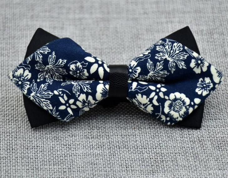 Men's Blue White Floral 100% Cotton Pre Tied Bow Tie - Amedeo Exclusive