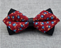 Men's Red Blue Orange Floral Cotton Pre-Tied Bow Tie - Amedeo Exclusive