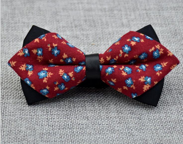 Men's Red Blue Orange Floral Cotton Pre-Tied Bow Tie
