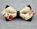Men's Pure Cotton Yellow Floral Pre-Tied Bow Tie
