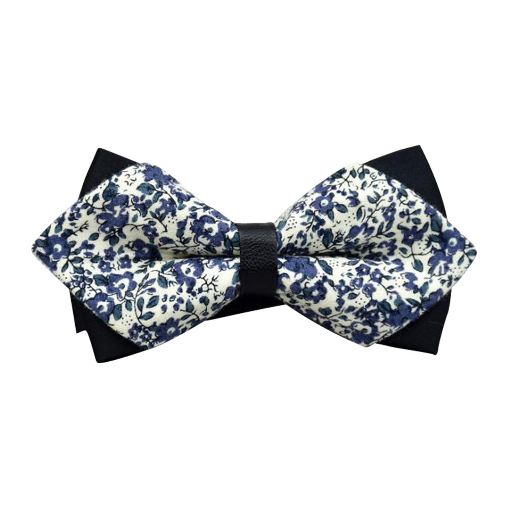 Men's White Blue Floral 100% Soft Cotton Pre-Tied Bow Tie - Amedeo Exclusive