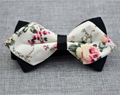 Men's Pure Cotton Beige Floral Pre-Tied Bow Tie - Amedeo Exclusive