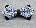 Men's White Blue Floral 100% Cotton Pre Tied Bow Tie - Amedeo Exclusive