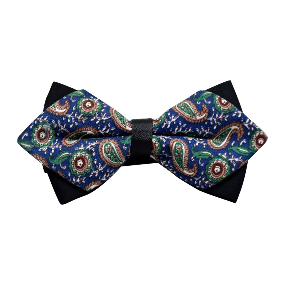 Men's Blue Green Paisley 100% Cotton Pre-Tied Bow Tie - Amedeo Exclusive