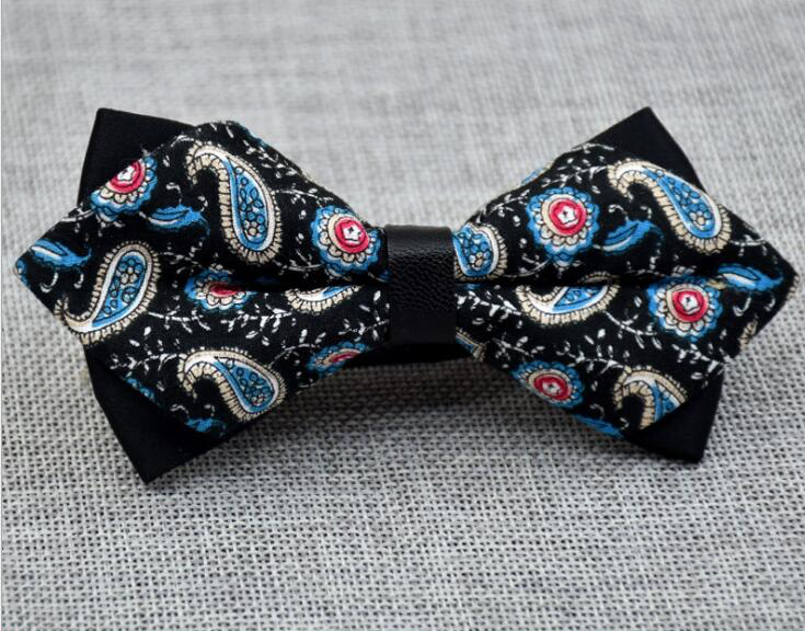 Men's Black Blue Pink Paisley 100% Cotton Pre-Tied Bow Tie - Amedeo Exclusive