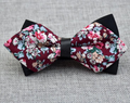 Men's Burgundy Pink Floral 100% Cotton Pre-Tied Bow Tie