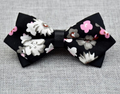 Men's Black White Floral 100% Cotton Pre-Tied Bow Tie - Amedeo Exclusive