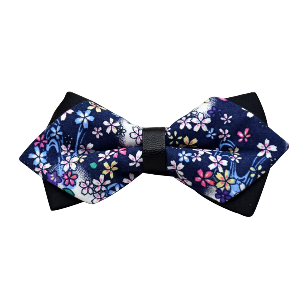 Men's Navy Blue Colorful Floral 100% Cotton Pre-Tied Bow Tie